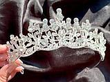 Крісті Діадема з рослинним орнаментом бутонами новини в обрамленні кристалів (5,5 см), фото 5