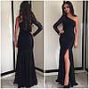 Платье годе на одно плечо (черное, белое), фото 2