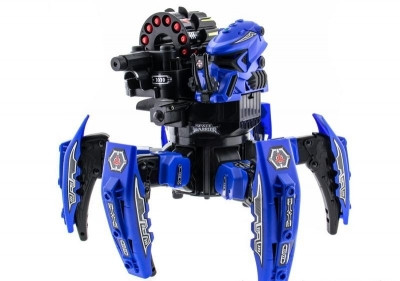 Робот-паук Keye Space Warrior на радиоуправлении ракеты, диски, лазер, синий SKL17-139945