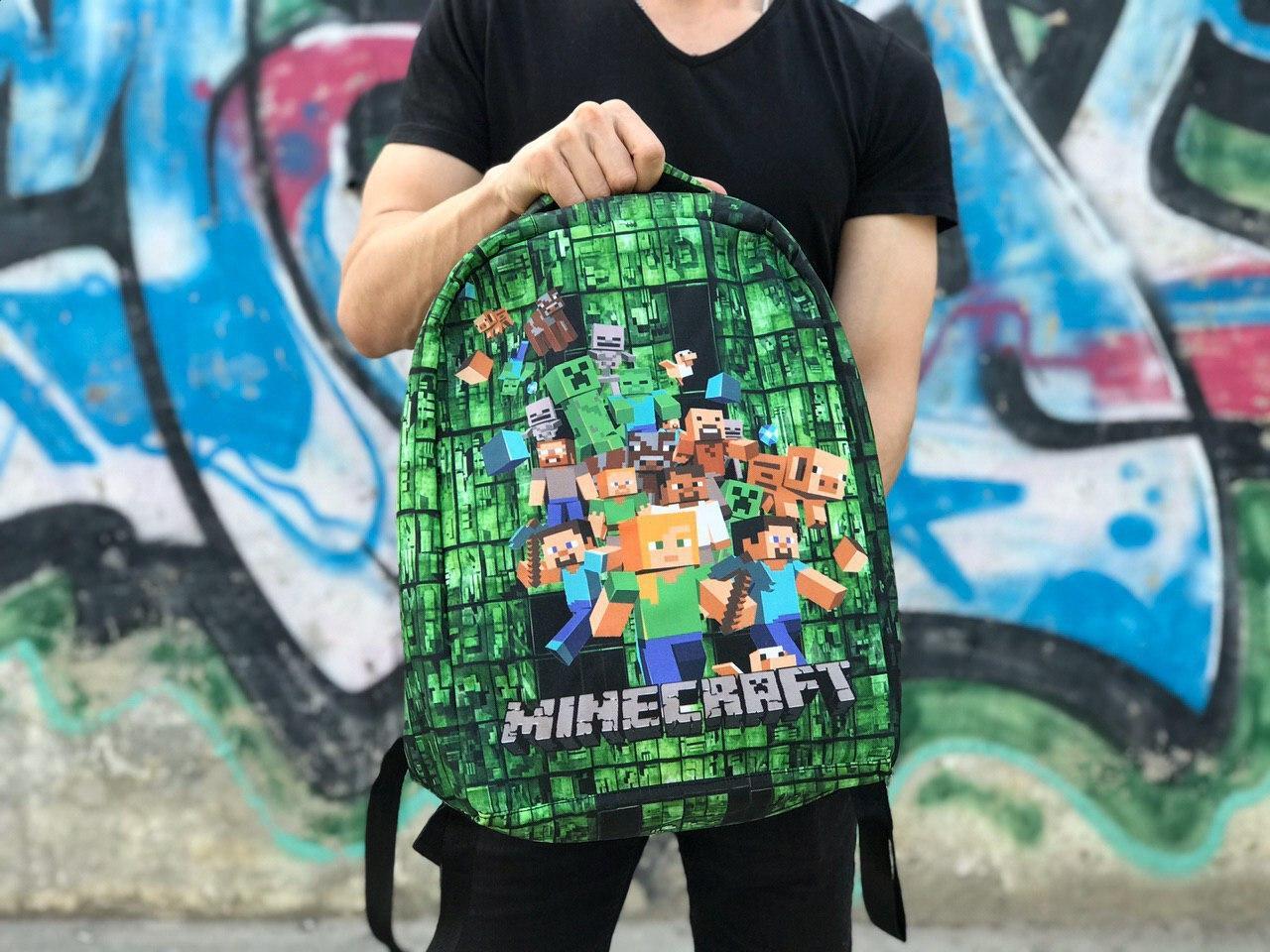 """Рюкзак-антивор городской детский """"Minecraft"""" (Майнкрафт) зеленый с черным"""