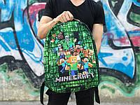 """Рюкзак-антивор городской детский """"Minecraft"""" (Майнкрафт) зеленый с черным, фото 1"""