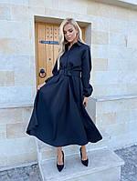 Платье, Ткань: Креп-костюмка, р-р 42-44, 46-48, 50-52, цвет ( Чёрный, Бежевый, Бордо )