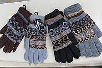 Вязаные теплые мужские перчатки