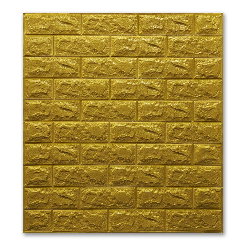 Самоклеющиеся обои под Золото Кирпич (самоклеющиеся 3d панели для стен оригинал) 700x770x7 мм