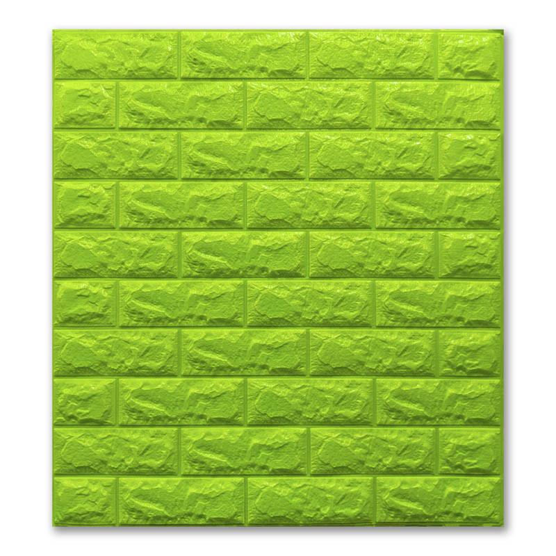 Самоклеющиеся обои под Зеленый Кирпич (самоклеющиеся 3d панели для стен оригинал) 700x770x7 мм