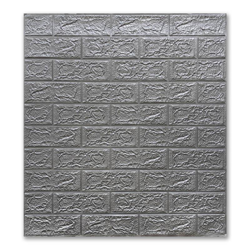 Самоклеющиеся обои под Серебро Кирпич (самоклеющиеся 3d панели для стен оригинал) 700x770x5 мм
