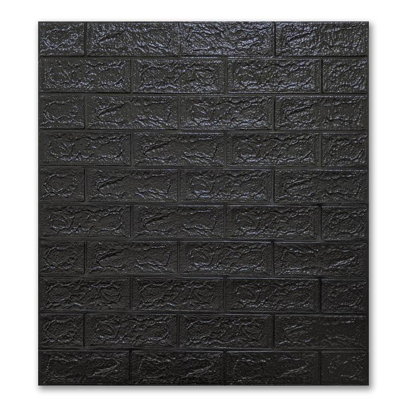 Самоклеющиеся обои под Черный Кирпич (самоклеющиеся 3d панели для стен оригинал) 700x770x5 мм
