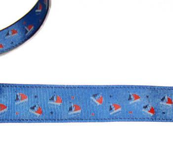 Репсова стрічка 2,5 см, синя Кораблики
