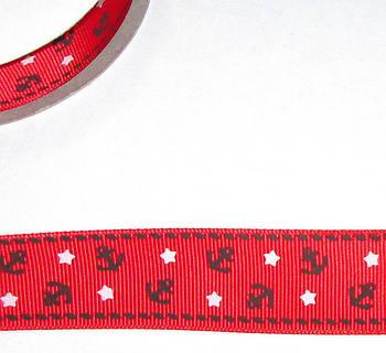 Репсова стрічка 2,5 см, червона Якорі