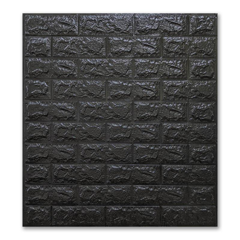 Самоклеющиеся обои под Черный Кирпич (самоклеющиеся 3d панели для стен оригинал) 700x770x7 мм