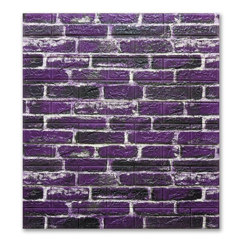 Самоклеющиеся обои под Фиолетовый Кирпич (самоклеющиеся 3d панели для стен оригинал) 700x770x5 мм