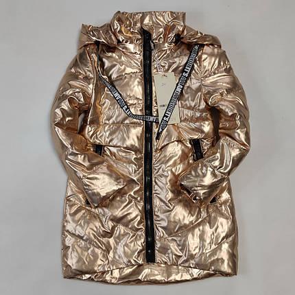 Детская демисезонная куртка пальто для девочки золотистая блеск 4-5 лет, фото 2