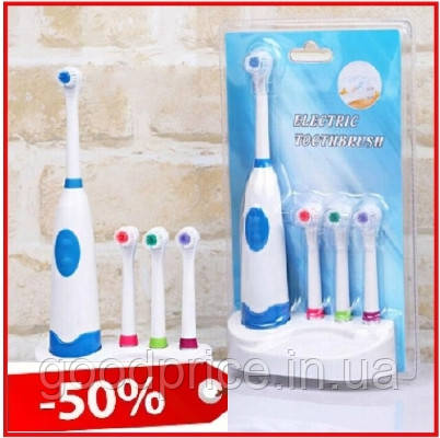 Электрическая зубная щетка Electric Toothbrush с насадками на батарейках