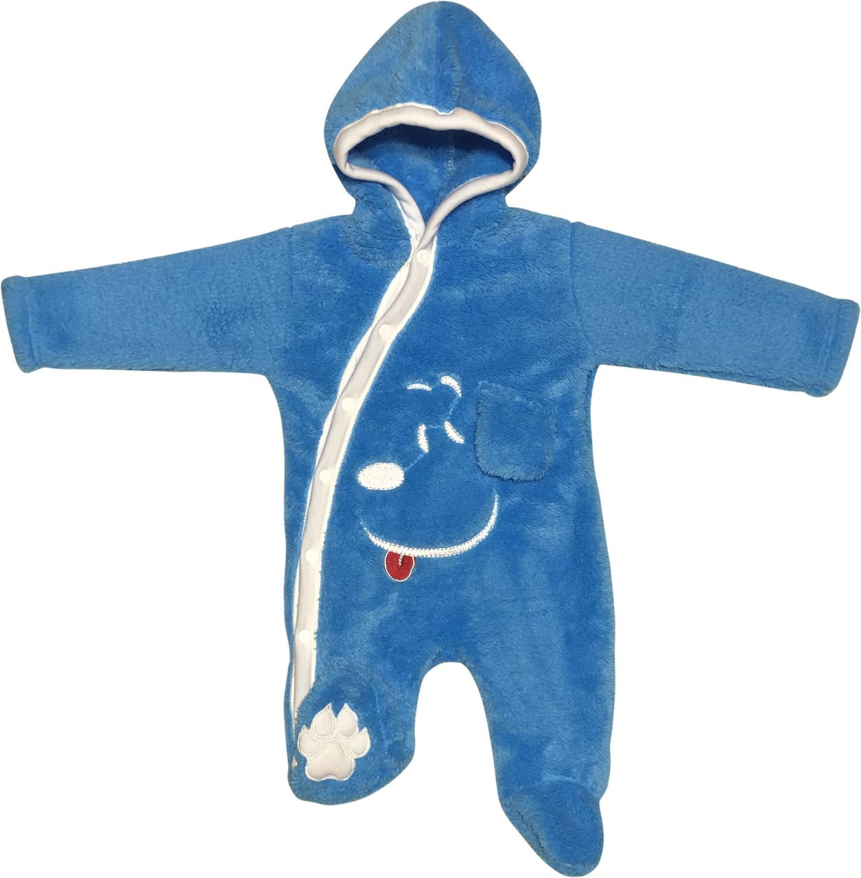 Дитячий теплий чоловічок зростання 62 2-3 міс махровий блакитний на хлопчика сліп з капюшоном для