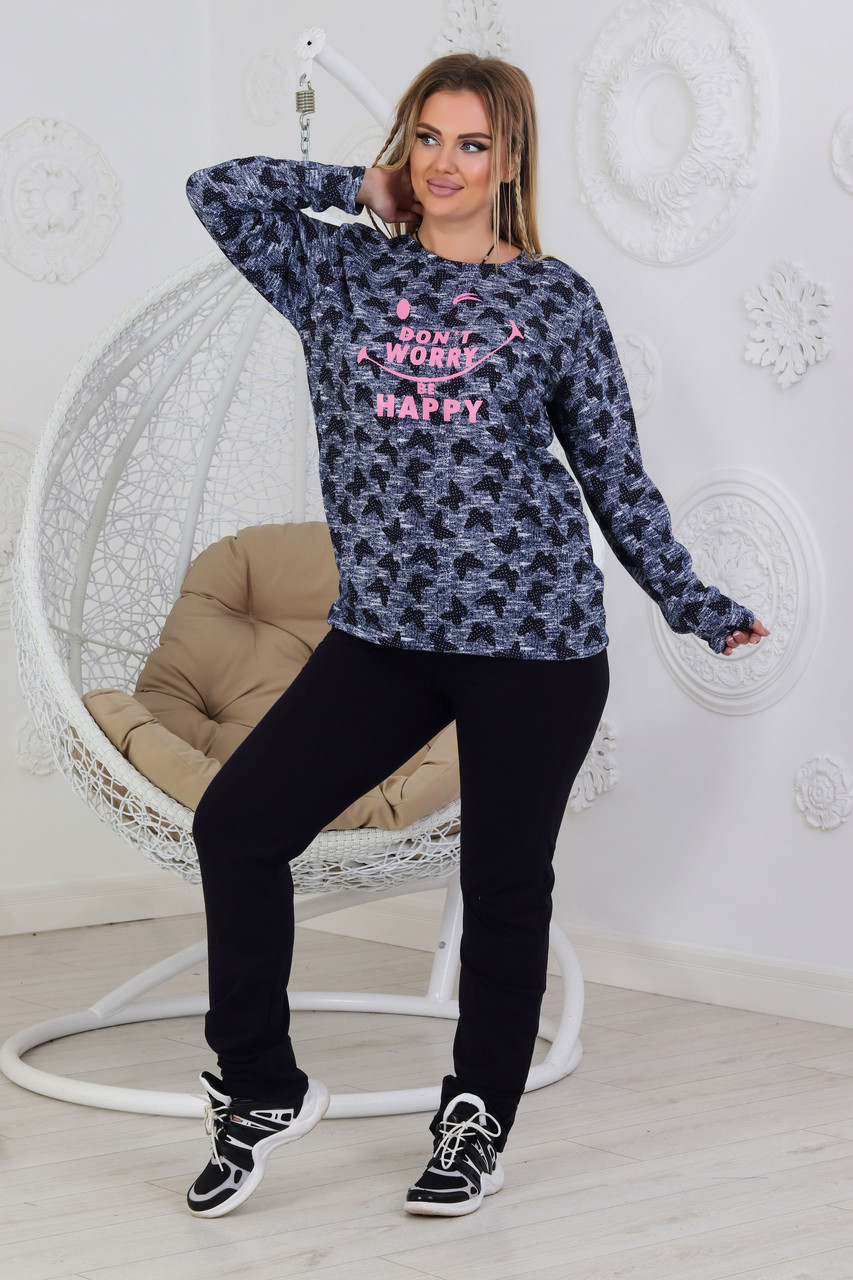 Жіночий домашній костюмчик з трикотажу розміри від 48 до 56
