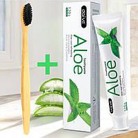 Натуральная зубная паста с алоэ вера и бамбуковая щетка Отбеливающая Антибактериальная для гигиены полости рта