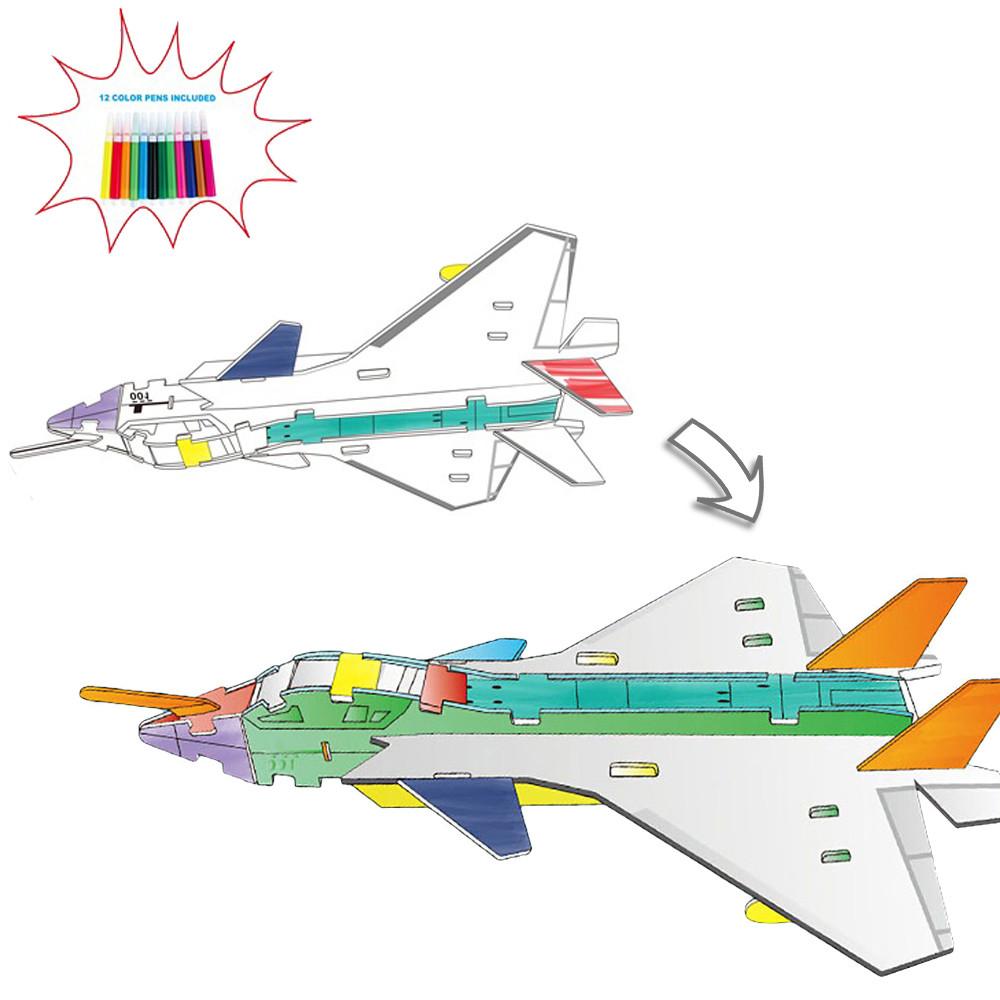3D-конструктор Самолет 8N399-12 с набором фломастеров 3д раскраска 37 частей конструктора и 12 фломастеров