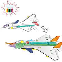3D-конструктор Самолет 8N399-12 с набором фломастеров 3д раскраска 37 частей конструктора и 12 фломастеров, фото 1