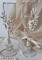 """Свадебные украшения на бокалы цвета айвори. """"Фрезии""""(съемные 1 шт, без бокалов), фото 1"""