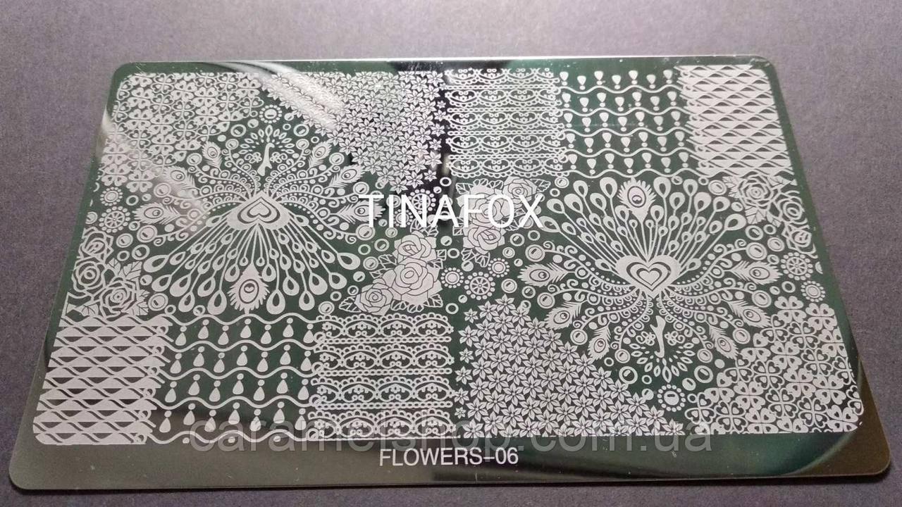 Пластина для стемпинга металл (большой) Flowers 06