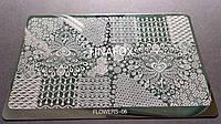 Пластина для стемпинга металл (большой) Flowers 06, фото 1