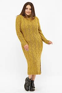Жіноче в'язане плаття-міді великих розмірів під горло (VPCB008 fup)