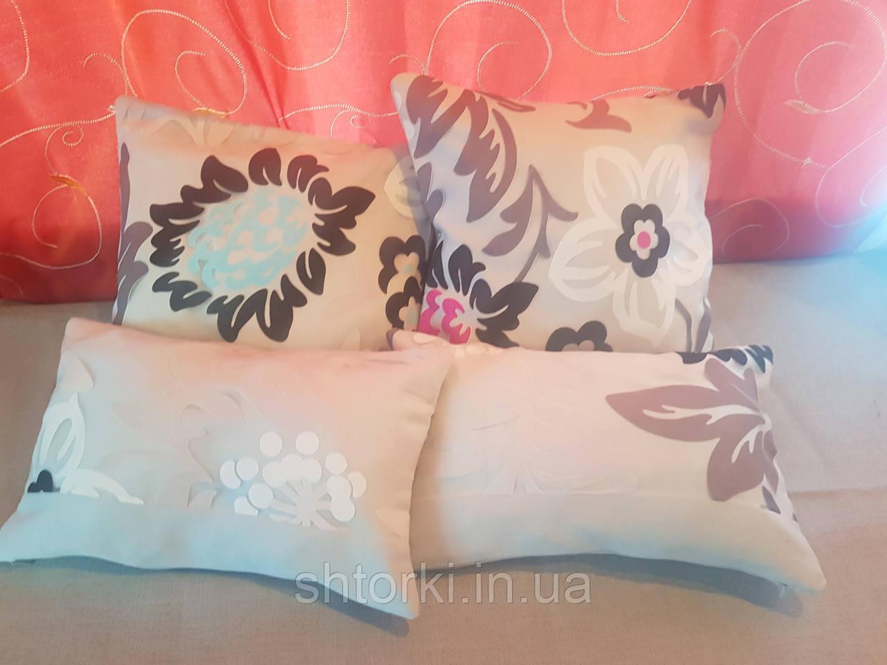 Комплект подушок беж Квіти абстракція,4шт
