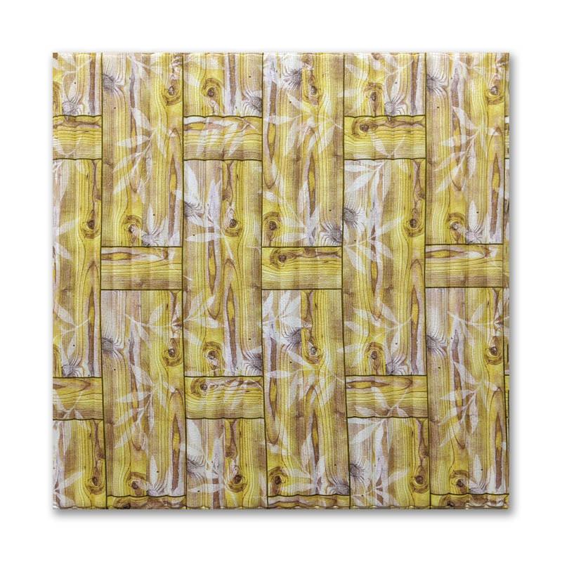 Самоклеющиеся обои под Бамбуковая кладка Желтая (самоклеющиеся пластиковые 3d панели под бамбук) 700x700x8 мм