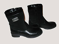 Женские Ботинки комбинированные черные зима