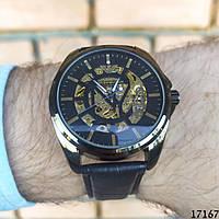 Мужские наручные часы механические + автоподзавод черные в стиле Armani. Годинник чоловічий механічний