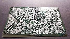 Пластина для стемпинга металл (большой) Flowers 11