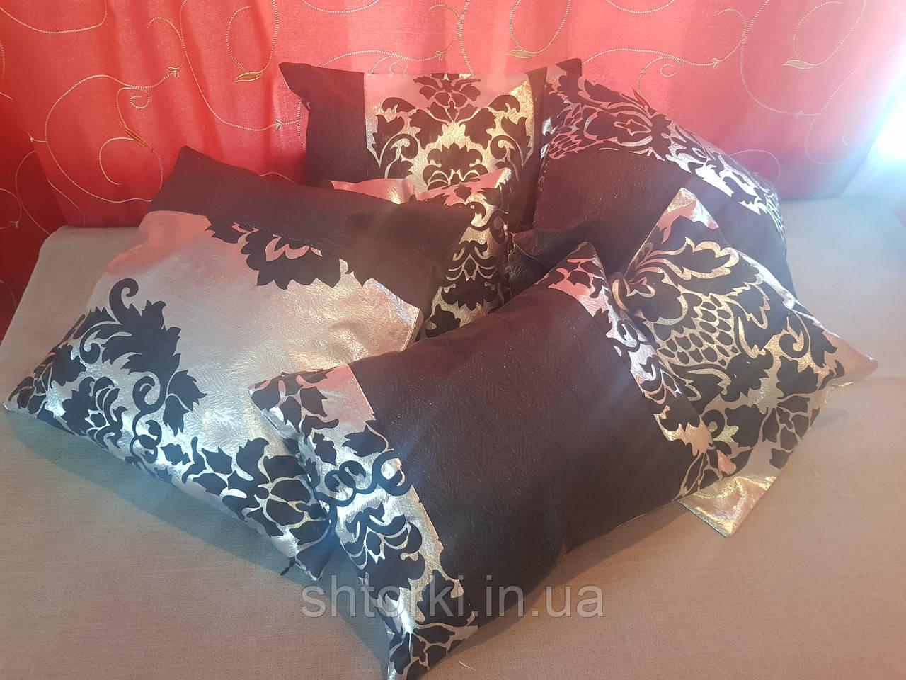 Комплект подушек  серебро с черным коронка тафта, 6шт
