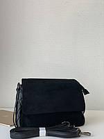 Женская сумка из натуральной замши черная небольшая на плечевом ремне Pretty Woman, фото 1