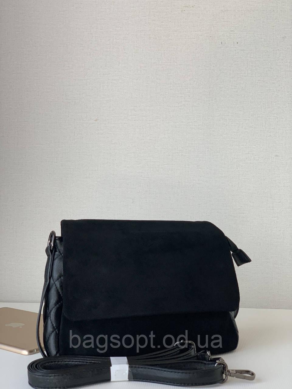 Женская сумка из натуральной замши черная небольшая на плечевом ремне Pretty Woman