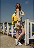 Модный женский небольшой желтый рюкзак городской, повседневный матовая эко-кожа, фото 2