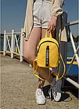 Модный женский небольшой желтый рюкзак городской, повседневный матовая эко-кожа, фото 3