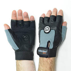 Перчатки тренировочные для фитнеса и бодибилдинга Stein Gift (L) - чёрно-серые мужские перчатки спортивные