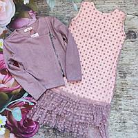 Стильный костюм для девочки. Платье и жакет (134-152р)
