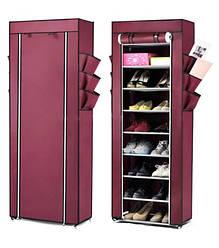 Складной тканевый шкаф-полка для обуви на 30 пар Shoe Cabinet Shoe rack, 9 полок Бордовый