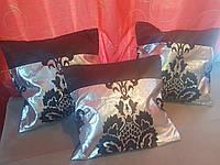 Комплект подушек  серебро с черным коронка тафта, 3шт, фото 1