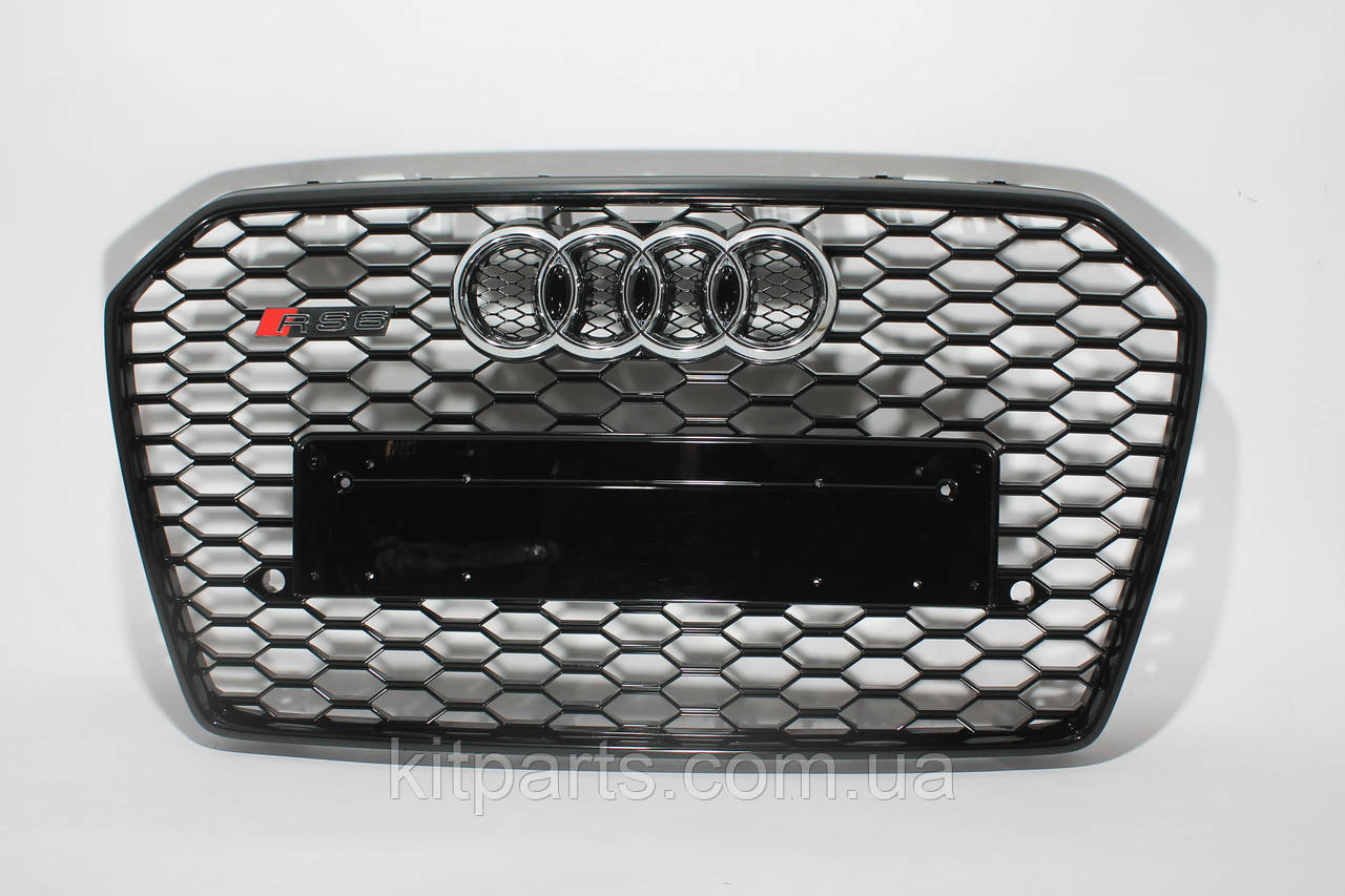 Решетка радиатора стиль RS6 на Audi A6 16+ Black