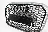 Решетка радиатора стиль RS6 на Audi A6 16+ Black, фото 3