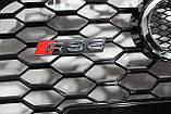 Решетка радиатора стиль RS6 на Audi A6 16+ Black, фото 4