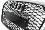 Решетка радиатора стиль RS6 на Audi A6 16+ Black, фото 5