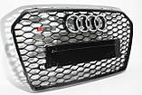 Решетка радиатора стиль RS6 на Audi A6 16+ Black, фото 6