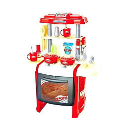 Детская игровая кухня 63 см со звуком и светом с крана течет вода Bambi WD-P15-R15 красный