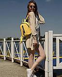Модный женский небольшой желтый рюкзак городской, повседневный матовая эко-кожа, фото 9