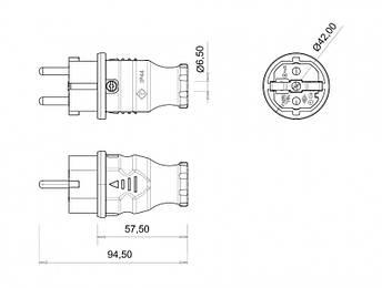 Вилка кабельна пряма 1P+N+E BEMIS 220-250В 16А каучук IP44, фото 2