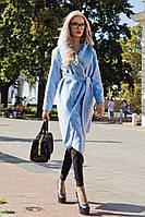 Женское пальто из кашемира с поясом в комплекте, фото 1