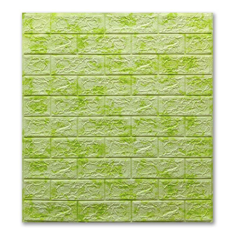 Декоративная 3Д-панель стеновая Зеленый Мрамор кирпич (самоклеющиеся 3d панели для стен оригинал) 700x770x7 мм